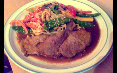Chinese Marinated Pork with Peanut Noodles